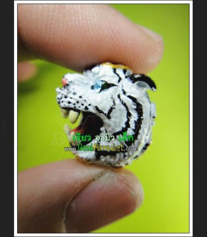BRONZE TIGER BALL RED EYE GEMS POWERFUL PROTECTION THAI AMULET LP PERN WATBANGPHA WHITE PAINT COLORED