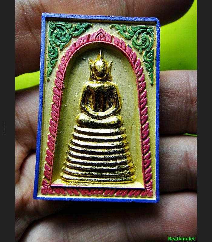 THAI REAL AMULET SOMDEJ 108 MONK MASS BLESSED WAT NOK 9ROW SEAT GOLD YELLOW
