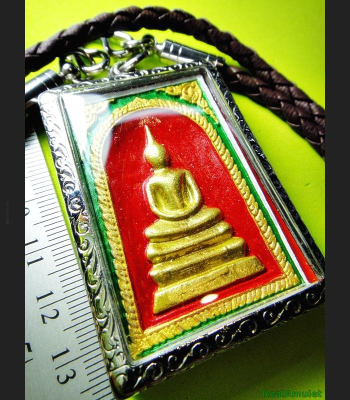 SOMDEJ MEDITATION PEACEFUL 108 MONK MASS BLESSED THAI AMULET WAT NOK 3ROW SEAT GOLD PAINT RED