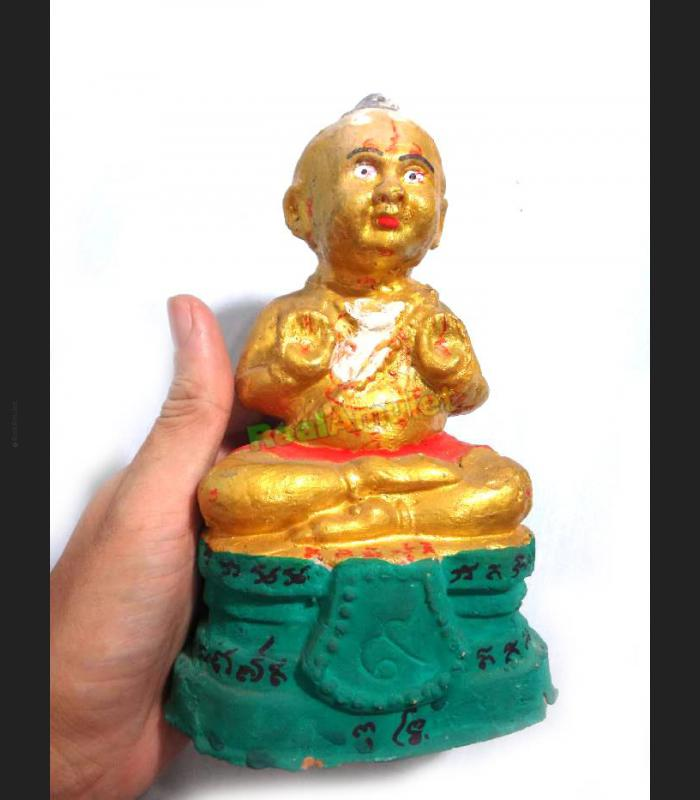THAI AMULET GAMBLING LUCKY GUMAN THONG BABY SEAT#9 MANTRA CLAY COLORED YEAM